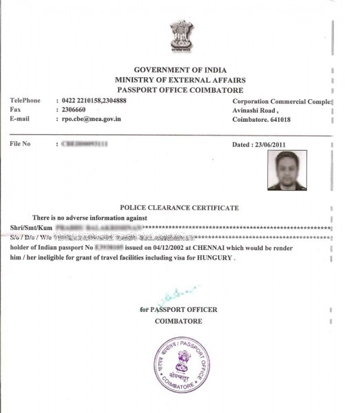 Apostille Cover Letter Sample: How To Get Police Clearance Certificate In India