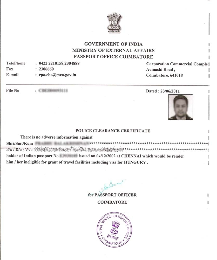 How To Get Police Clearance Certificate In India