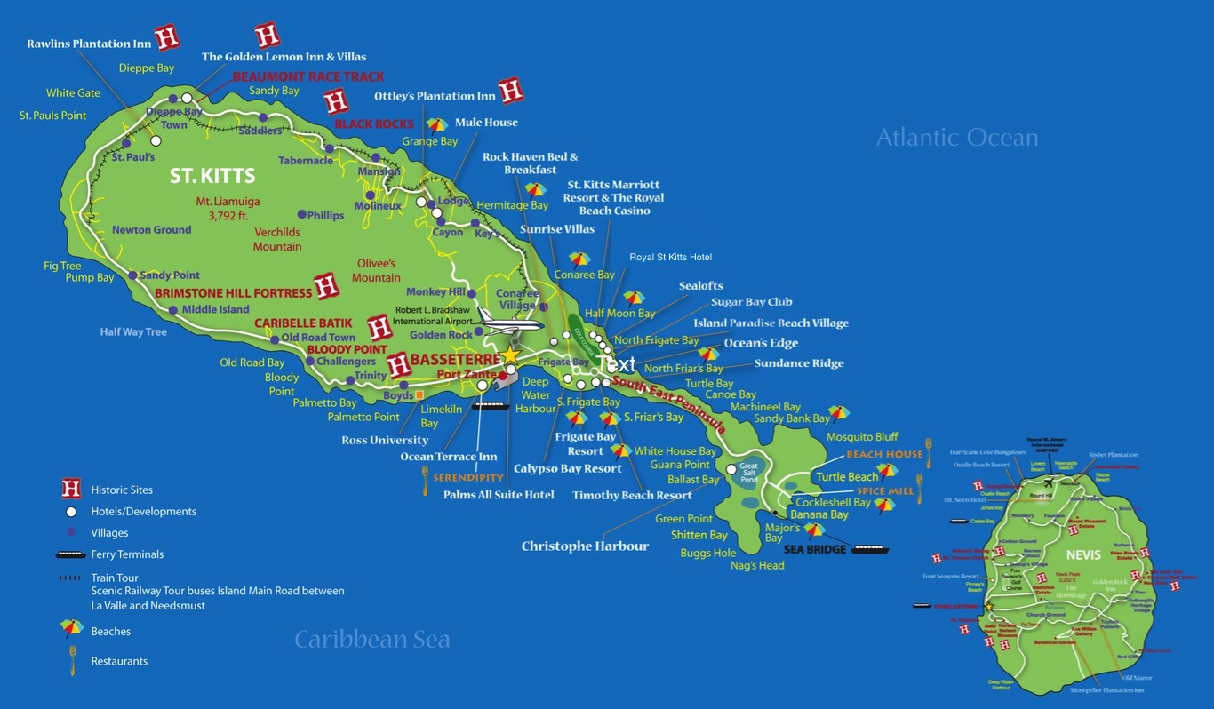 Map St Kitts Beaches St Kitts Beaches Near Cruise Port