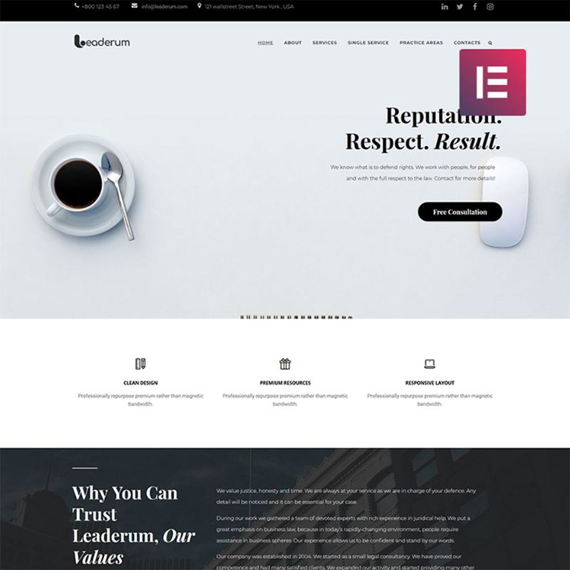 Leaderum - Minimal Business Elementor WordPress Theme