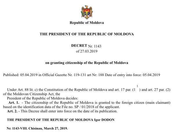 Moldova decree published in gazette